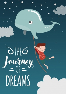 dream background flying whale little kid icons decoration