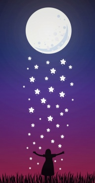 dream background full moon falling star girl icons