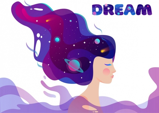 dream background girl hair planets universe icons sketch