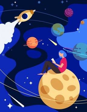 dream background girl reading book space planets icons