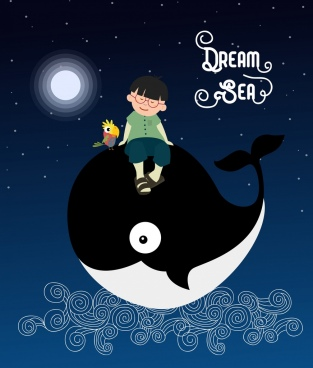 dream background kid whale icon cartoon design