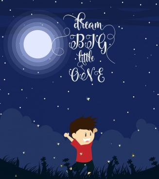 dream background moonlight joyful boy icons calligraphic decor