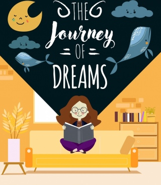dream background reading girl moon clouds whale icons
