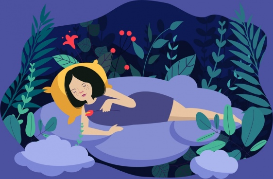 dream background relaxing woman clouds leaf icons decor