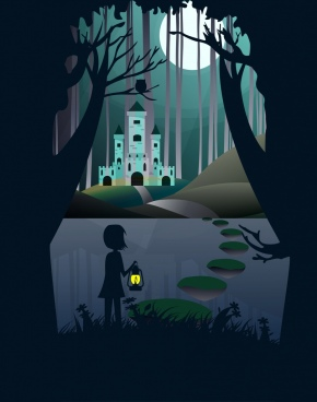 dream background silhouette style little girl moonlight icon