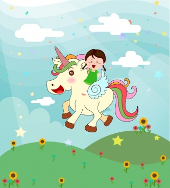 dream background tiny girl unicorn icons cartoon design