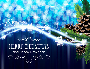 happy new year banners dream blue christmas with new year shiny background art
