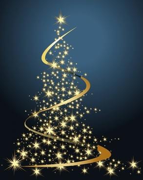 christmas background twinkling fir tree curves dynamic decor