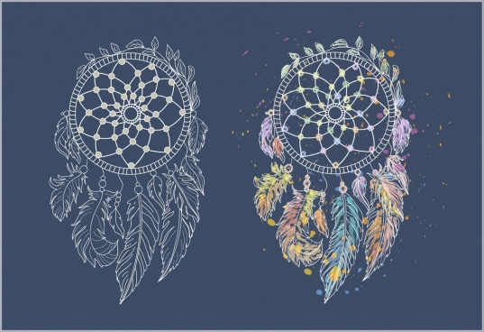 dream catcher templates classical handdrawn sketch