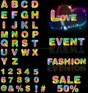 dream colorful letters and numbers vector