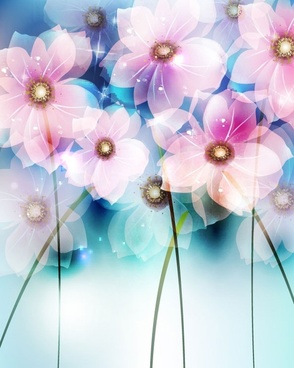 dream flowers vector background