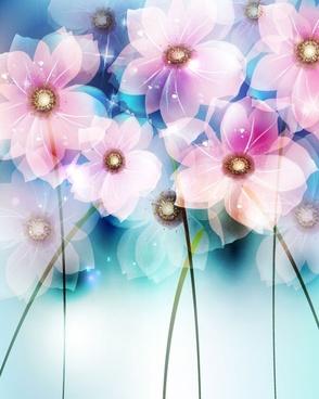 dream flowers vector background
