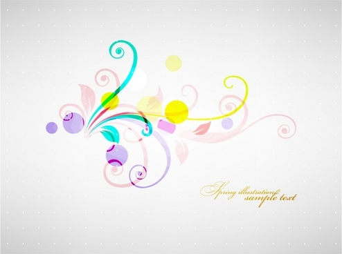 floral background colorful curves decor