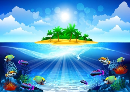 dream seawater background 04 vector