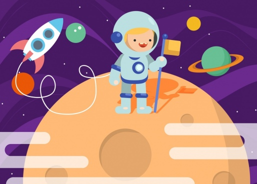 dreaming background astronaut theme colored cartoon design