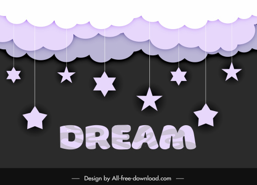 dreaming background clouds hanging stars sketch