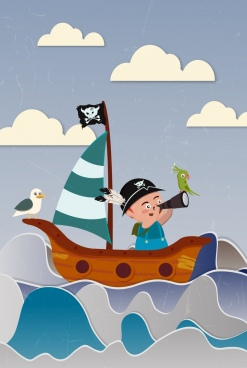 dreaming background cute kid sea sailboat icons