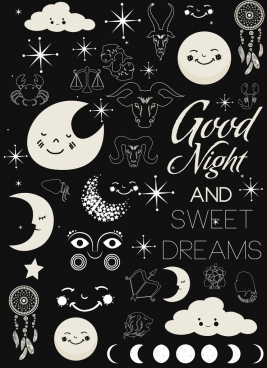 dreaming background dark design various flat symbols