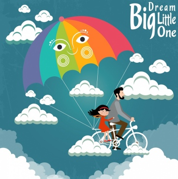 dreaming background fatherhood icon bicycle parachute clouds decoration