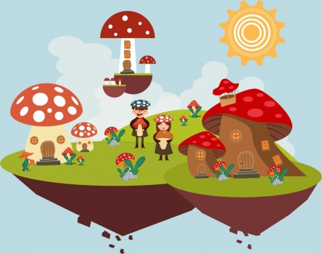 dreaming background floating mushroom land icon joyful kids