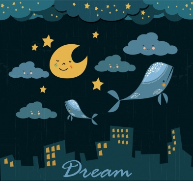 dreaming background flying whales stylized cloud moon icons