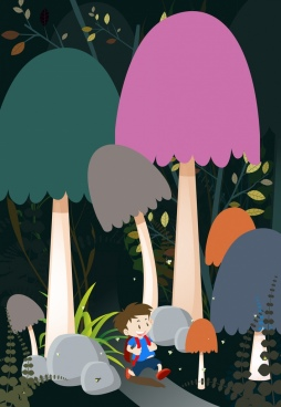 dreaming background huge mushroom cute boy icons