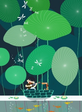 dreaming background joyful boy pet giant leaves decor