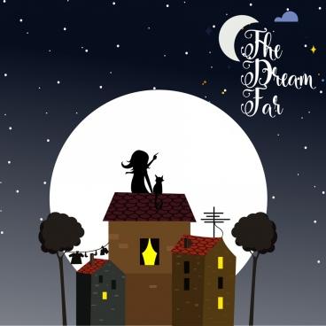 dreaming background moonlight girl cat icons cartoon design