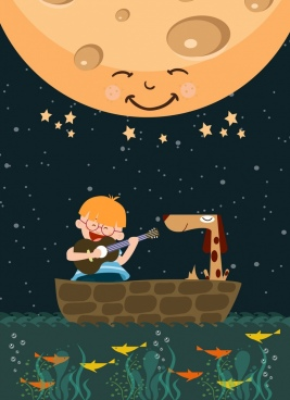 dreaming background playful boy marine moon icons ornament
