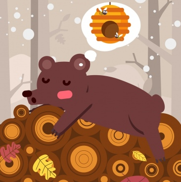dreaming background sleeping bear honeycomb thought bubble icons