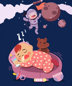 dreaming background sleeping child astronaut icons cartoon design