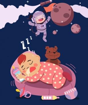 dreaming background sleeping child astronaut icons cartoon design