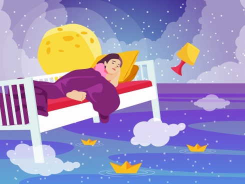 dreaming background sleeping girl sea ships cloud icons