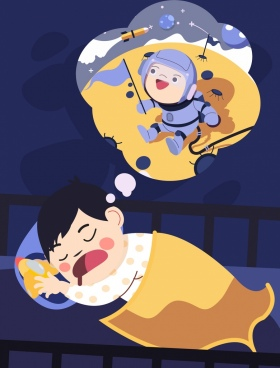 dreaming background sleeping kid astronaut icons cartoon characters