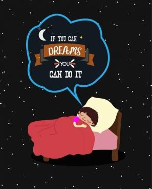 dreaming background sleeping kid icon stars backdrop