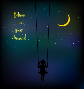 dreaming background swinging girl dark sky decoration