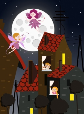 dreaming painting kids fairy moonlight icons cartoon characters