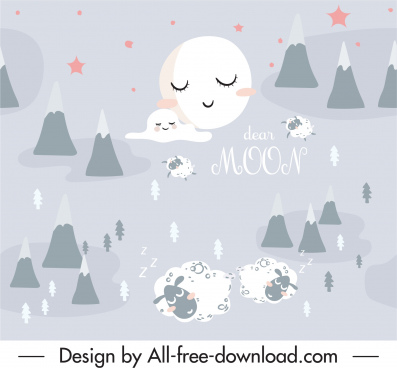 dreaming pattern stylized moon sleeping sheeps sketch
