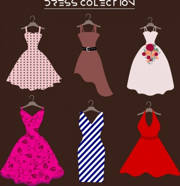 dress design collection various colored flat isolation