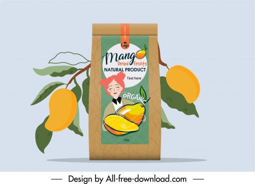 dried mango packaging template elegant retro handdrawn decor