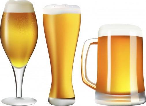 beer advertising background shiny glass icons realistic design