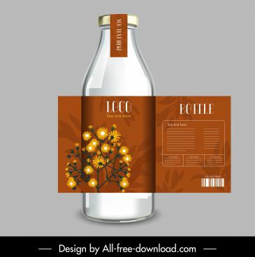 drink bottle label template classic floral decor