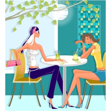 lifestyle background relaxed girls bar icons cartoon design