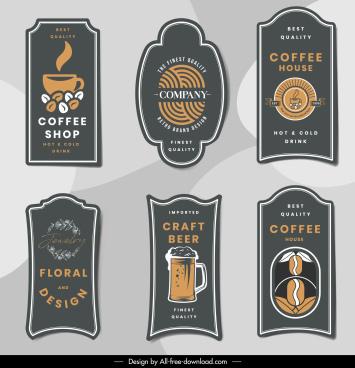 drink label templates classical elegance flat shapes