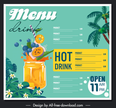 drink menu template colorful tropical design dynamic decor
