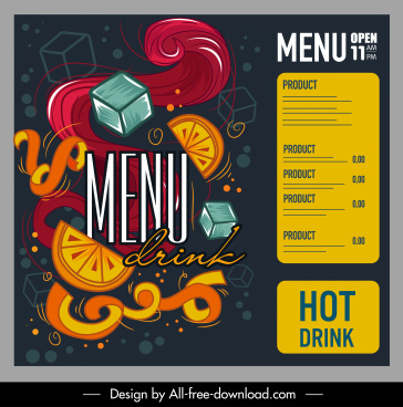 drink menu template dark colorful dynamic handdrawn design