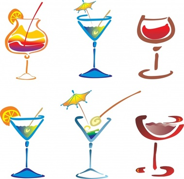 cocktail glass icons colorful flat handdrawn sketch