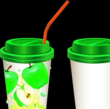 drinks cups with tubes vector