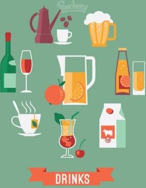 drinks flat illustrations