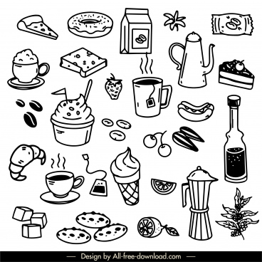 drinks foods icons black white handdrawn sketch
